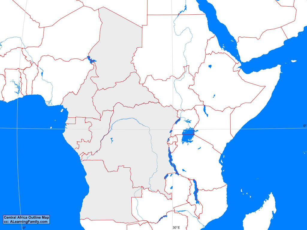 Africa Outline Map Central Africa Outline Map   A Learning Family
