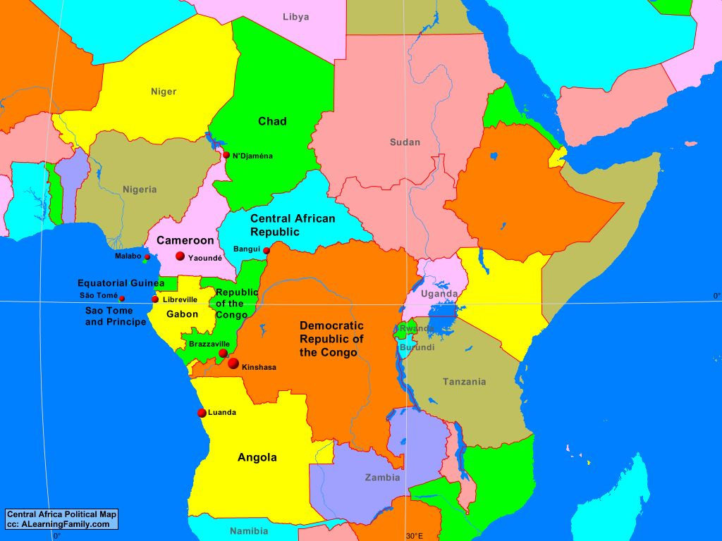 Central Africa Political Map Central Africa Political Map   A Learning Family