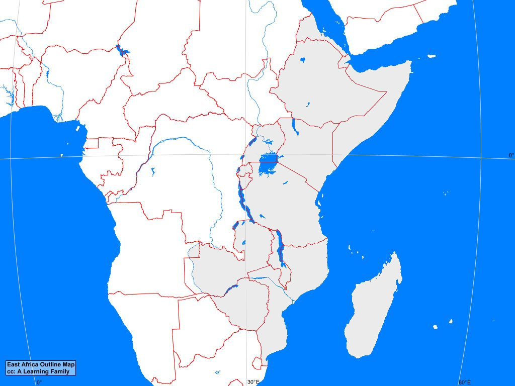 Blank Map Of Eastern Africa East Africa Outline Map   A Learning Family