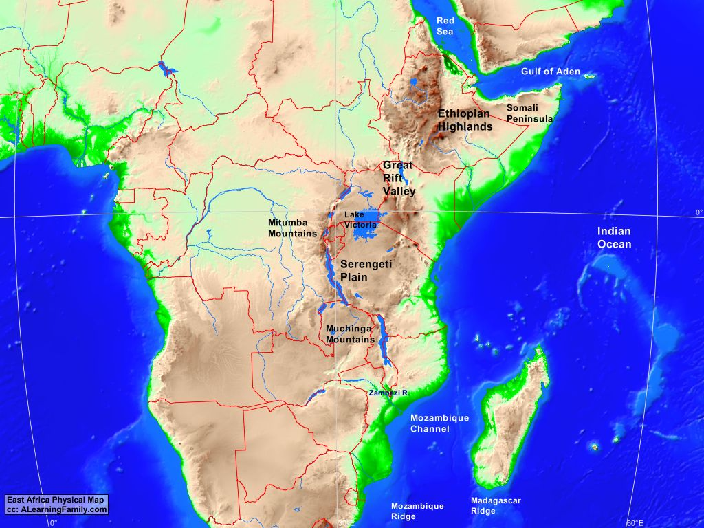 Physical Map Of East Africa East Africa Physical Map   A Learning Family