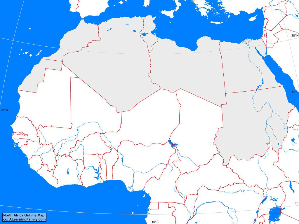 north africa blank map North Africa Outline Map A Learning Family north africa blank map