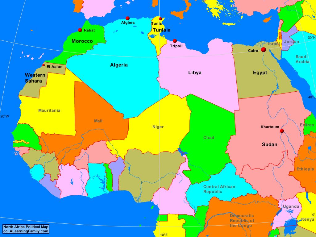 Picture of: North Africa Political Map A Learning Family