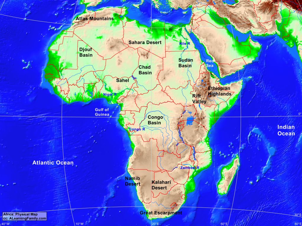 atlas mountains on map of africa Africa Physical Map A Learning Family atlas mountains on map of africa