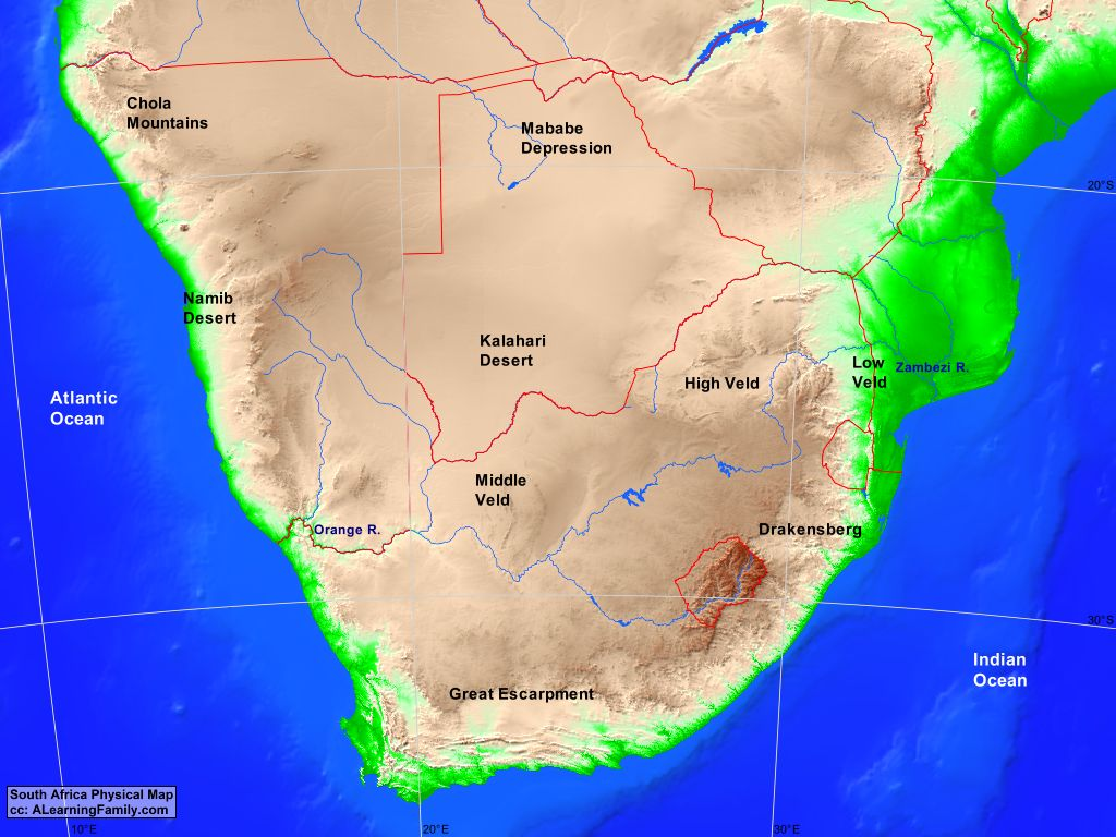 Picture of: Southern Africa Physical Map A Learning Family