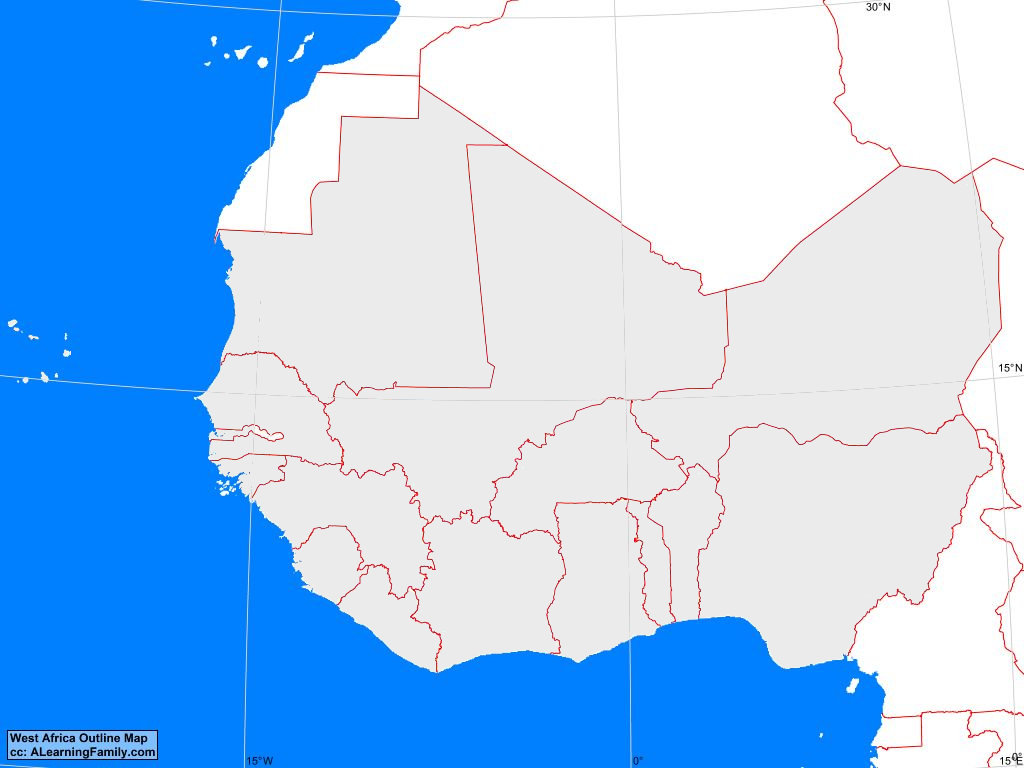 West Africa Map Blank West Africa Outline Map   A Learning Family
