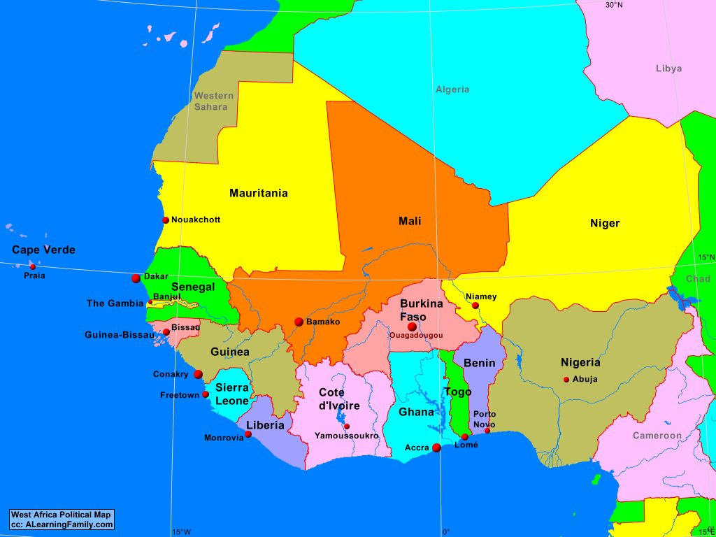 Map Of Central West Africa West Africa Political Map   A Learning Family