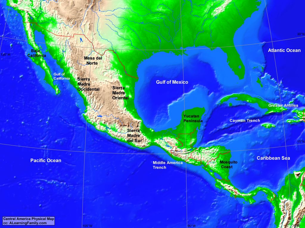 Central America: Physical Map - alearningfamily.com on peopling of the americas, mercator projection of the americas, geological map of the americas, language map of the americas, physical map southern africa, physical features of america, physical map china, world map of the americas, outline map of the americas, physical map sub-saharan africa, historical map of the americas, topographic map of the americas,