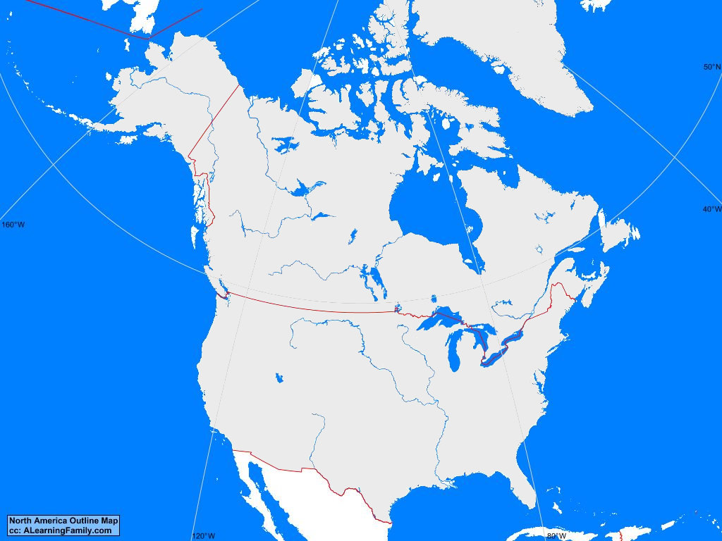 Picture of: North America Outline Map A Learning Family