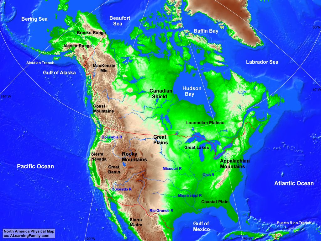 Picture of: North America Physical Map A Learning Family