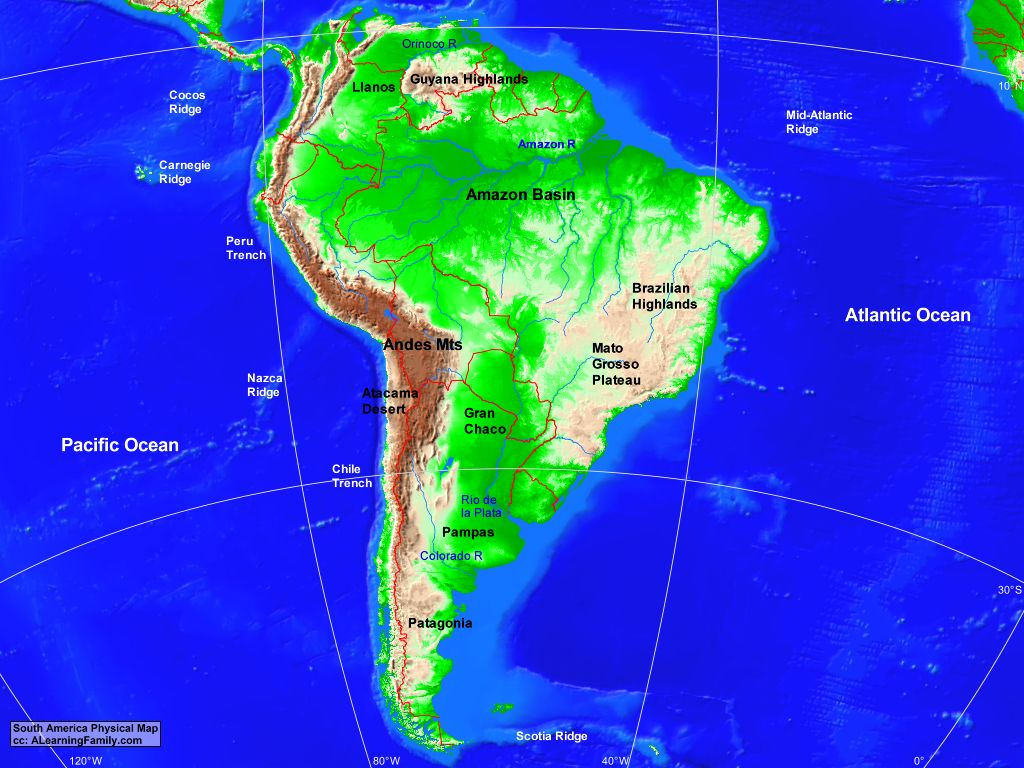 South America Physical Map A Learning Family