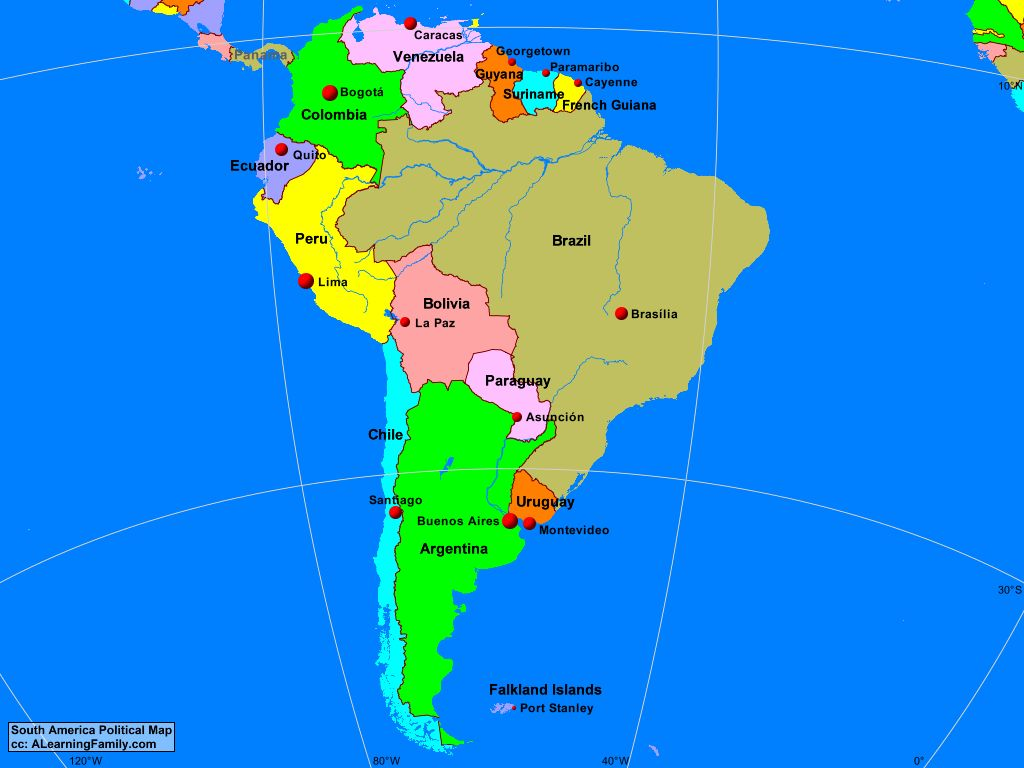 Image of: South America Political Map A Learning Family