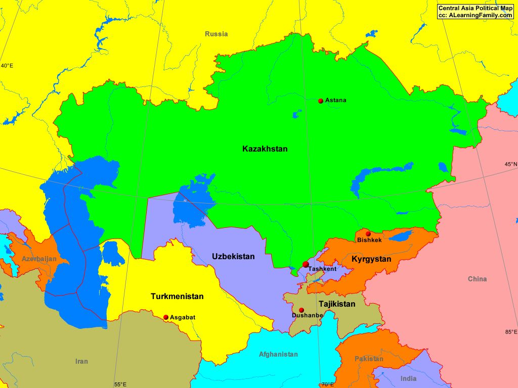 Central Asia Political Map A Learning Family