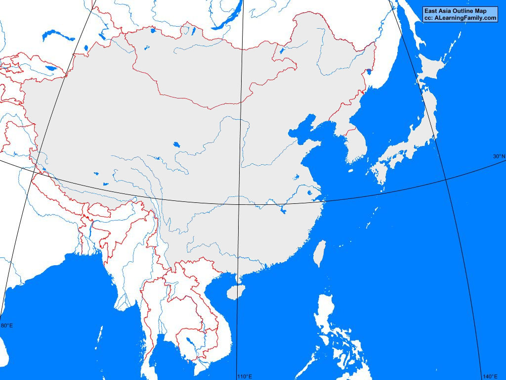 Picture of: East Asia Outline Map A Learning Family