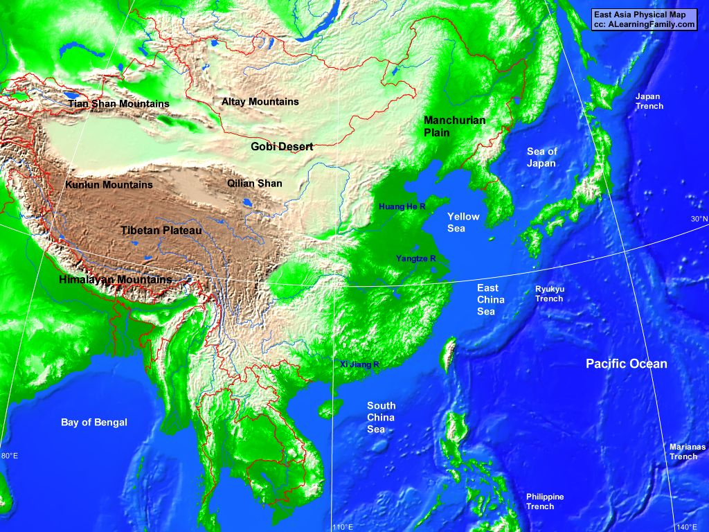 Image of: East Asia Physical Map A Learning Family