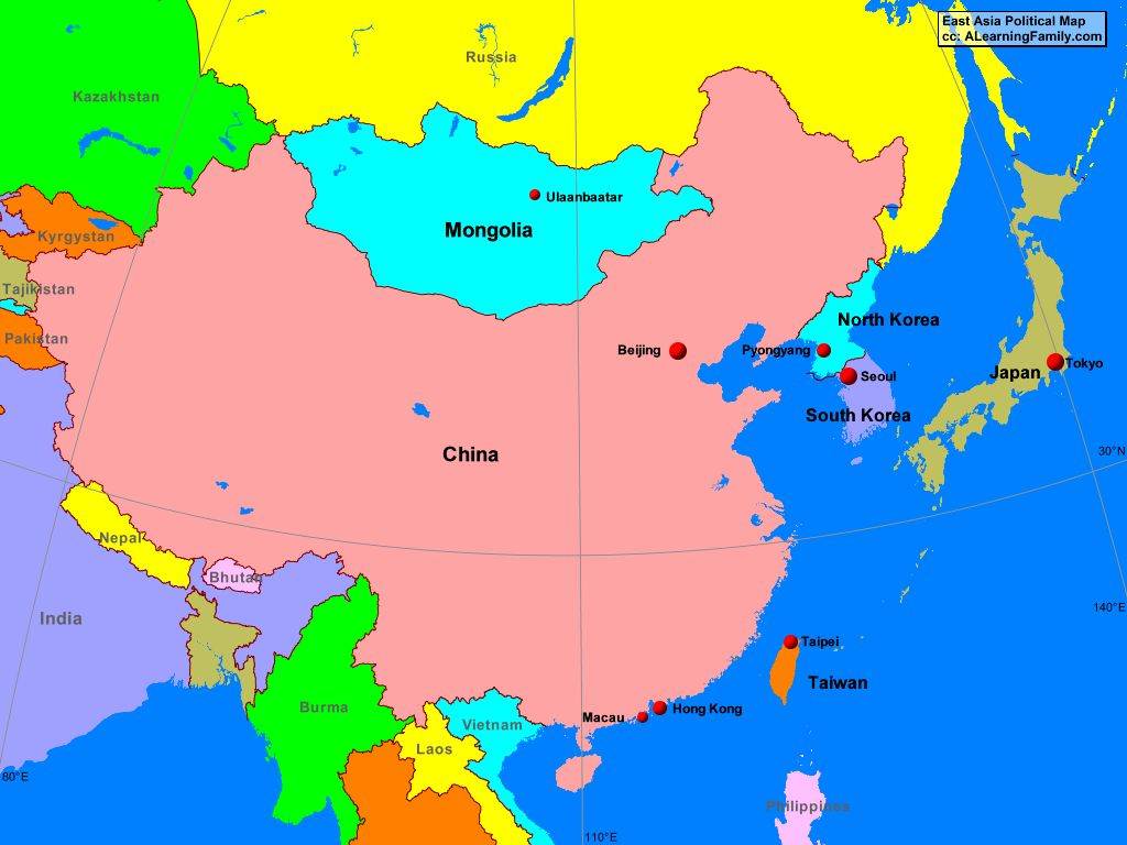 Picture of: East Asia Political Map A Learning Family