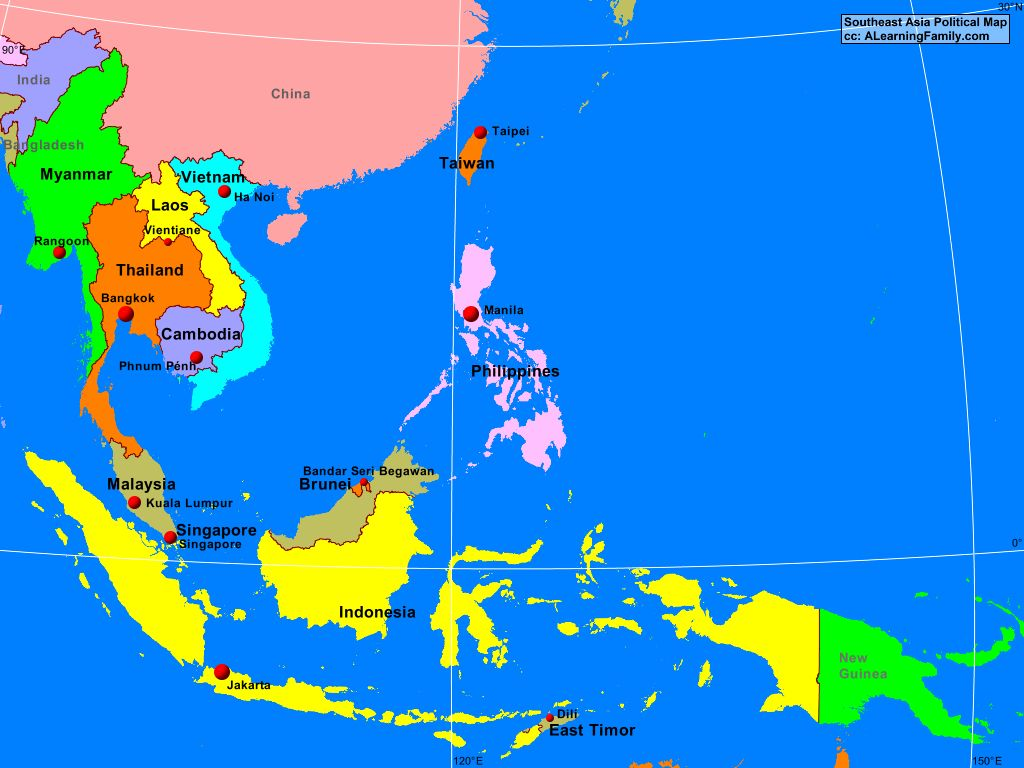 southeast asia and oceania political map Southeast Asia Political Map A Learning Family