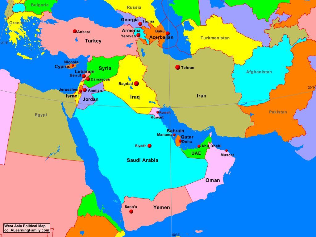 Picture of: West Asia Political Map A Learning Family