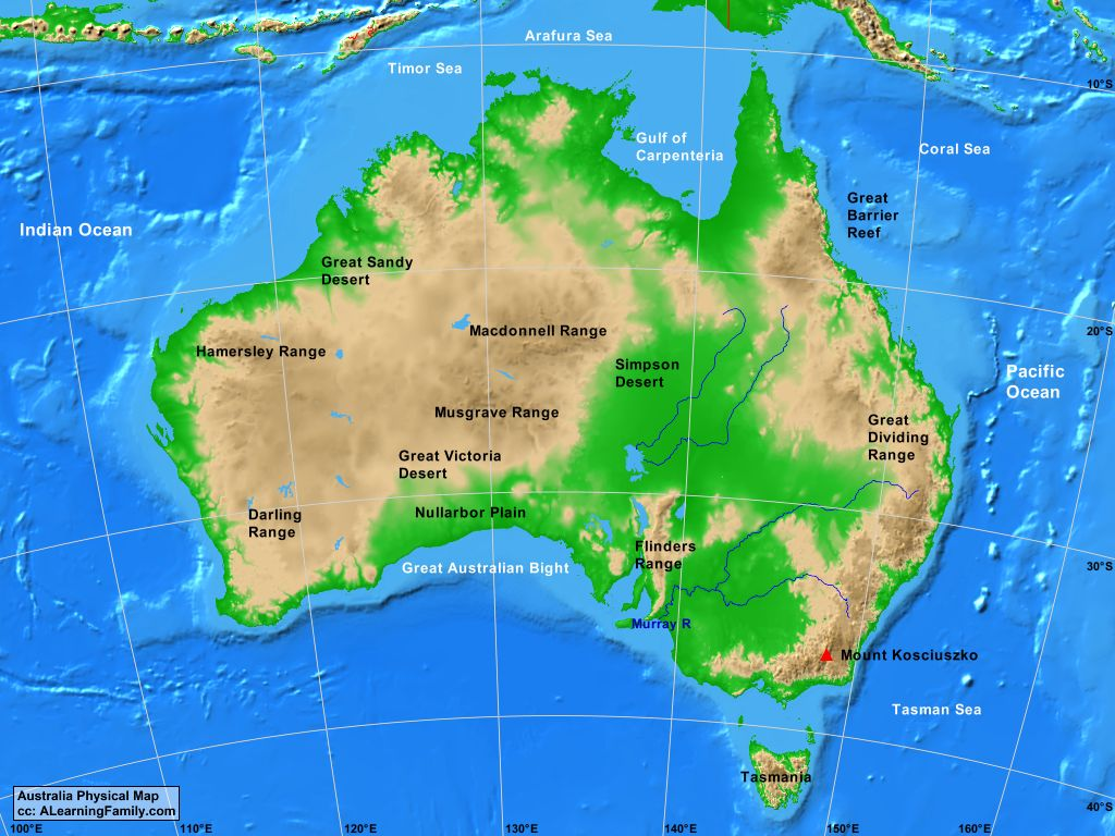 Picture of: Australia Physical Map A Learning Family