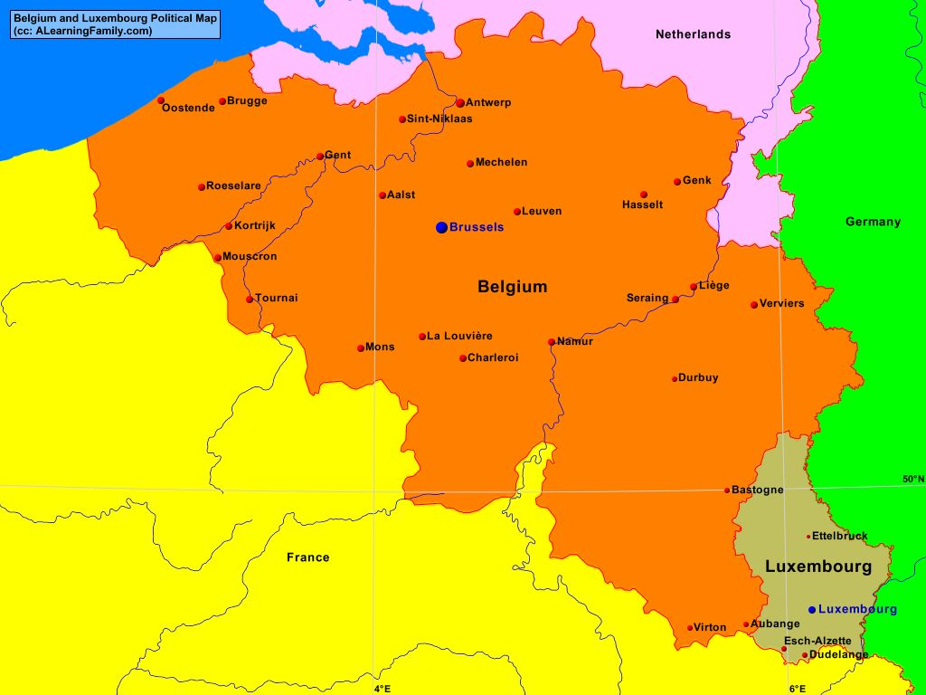map of belgium and luxembourg Belgium And Luxembourg Political Map A Learning Family map of belgium and luxembourg