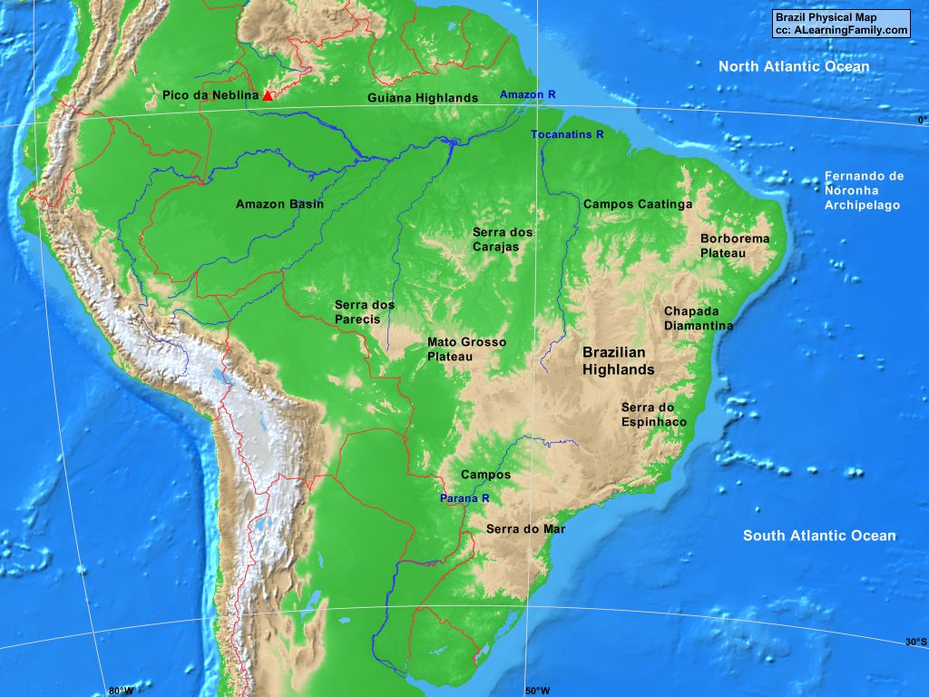Image of: Brazil Physical Map A Learning Family