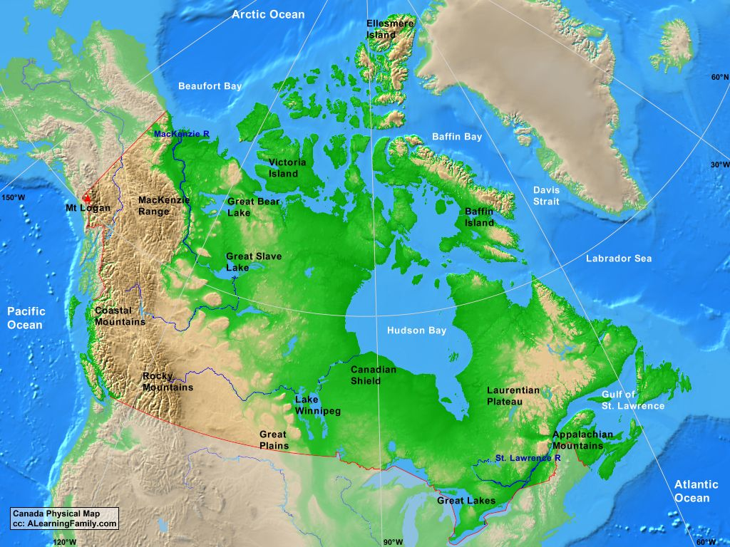 The Physical Map Of Canada Canada Physical Map   A Learning Family