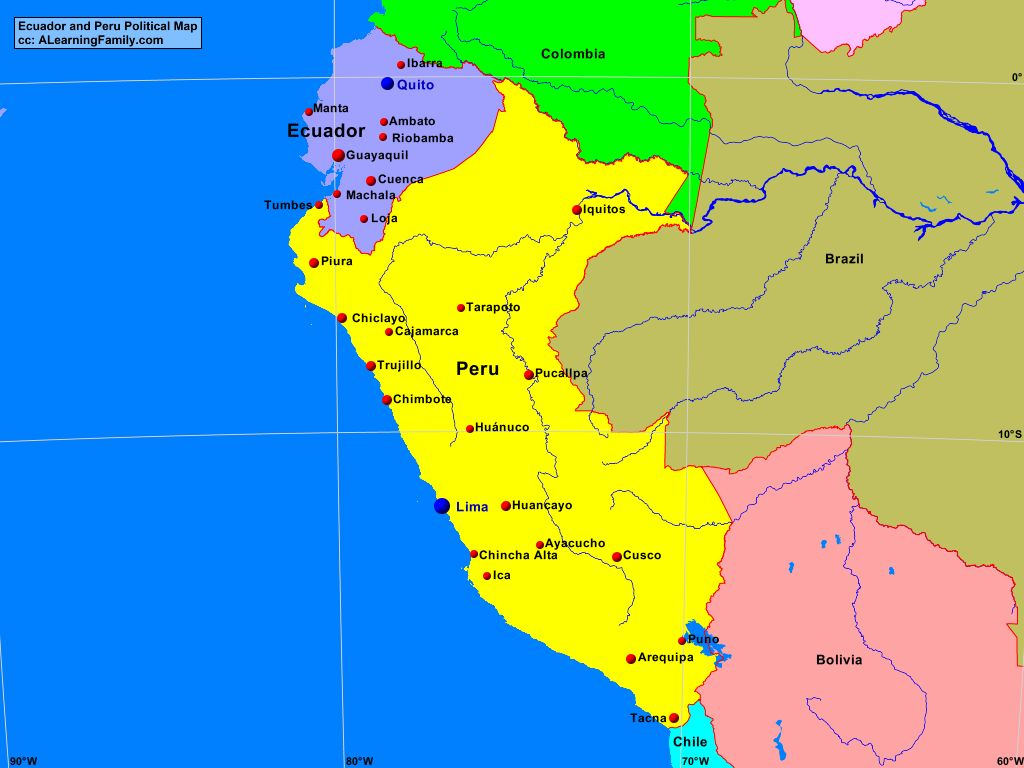 Image of: Ecuador And Peru Political Map A Learning Family