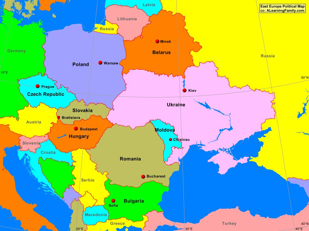 eastern europe political map East Europe Political Map   A Learning Family