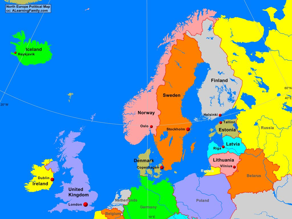 northern europe political map North Europe Political Map   A Learning Family
