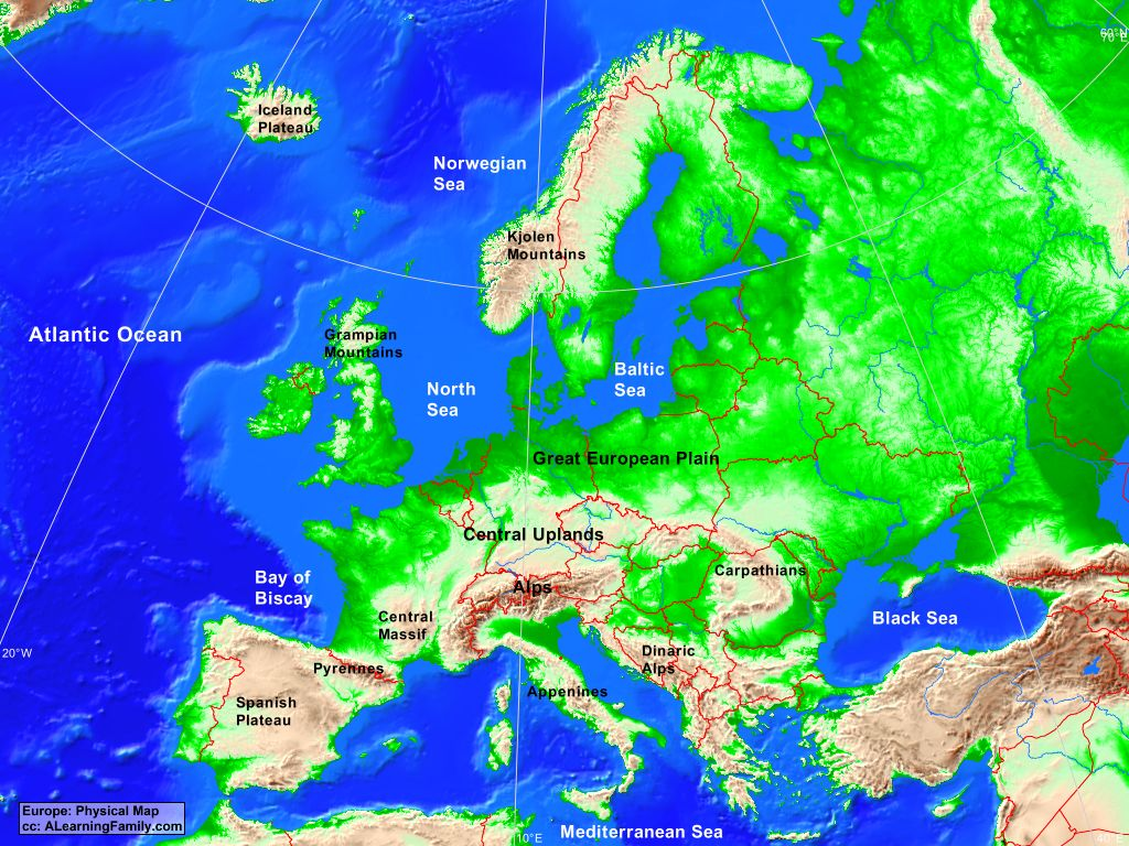 Europe Physical Map A Learning Family