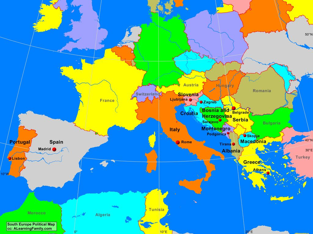 map of southern france europe South Europe Political Map   A Learning Family