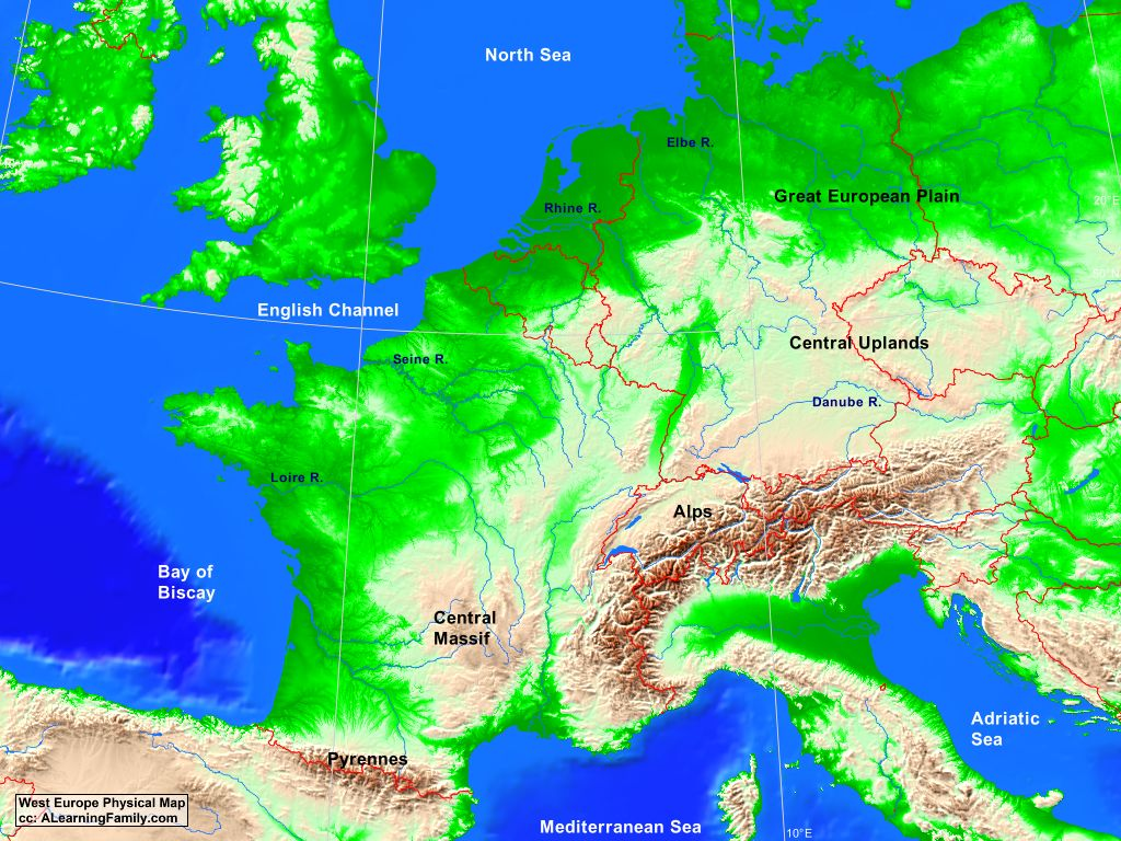 map of western europe physical West Europe Physical Map   A Learning Family