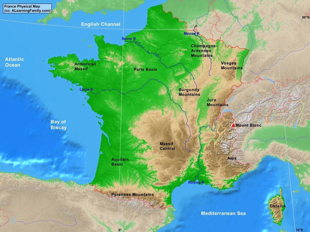 Picture of: France Physical Map A Learning Family