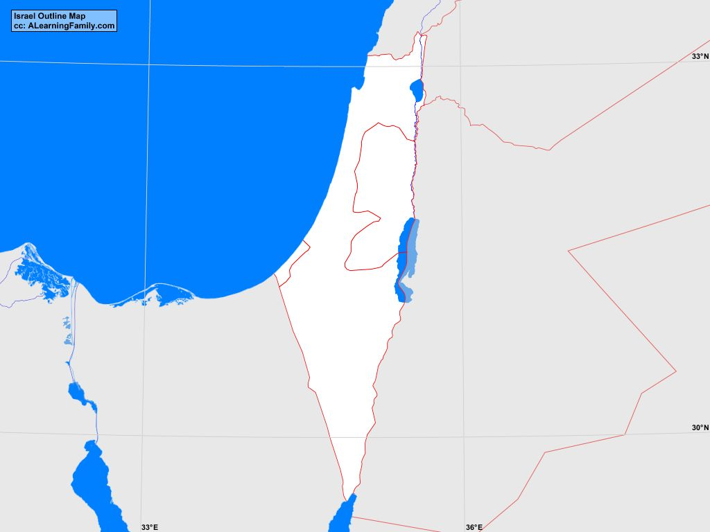 Picture of: Israel Outline Map A Learning Family