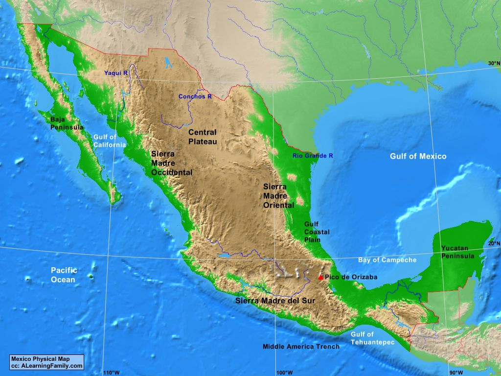 Image of: Mexico Physical Map A Learning Family