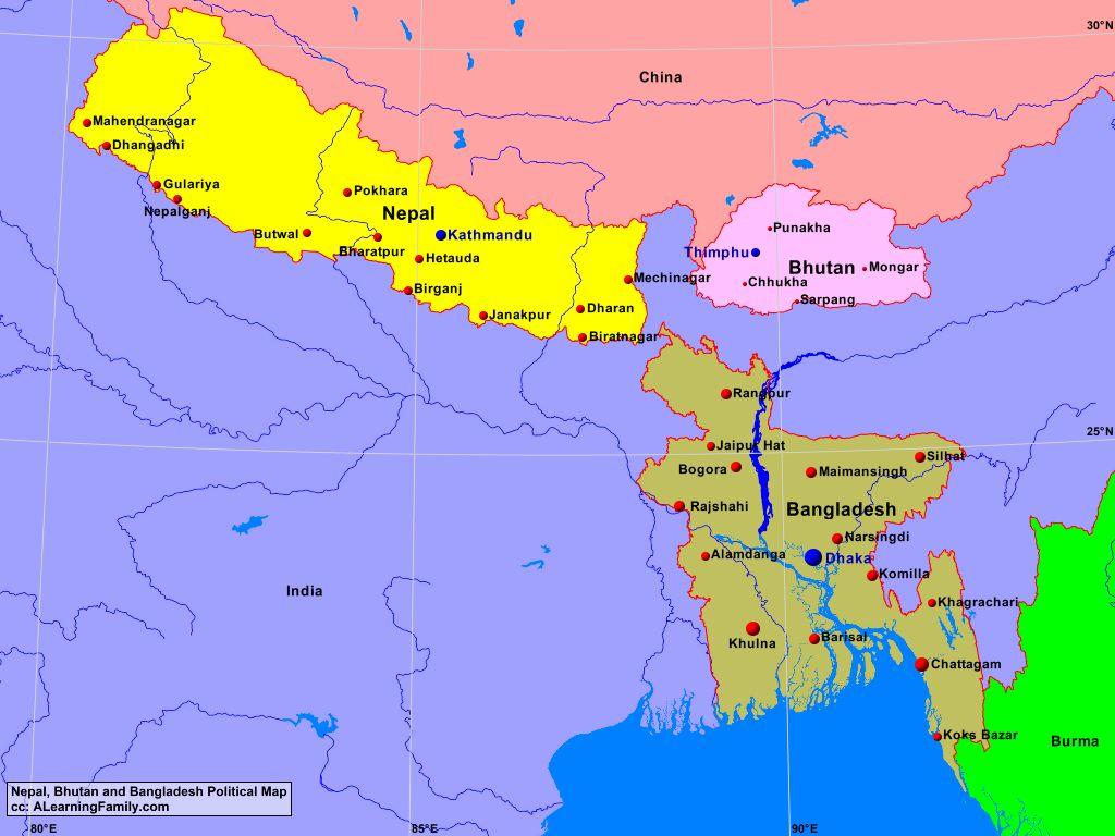 Bangladesh Bhutan And Nepal Political Map A Learning Family