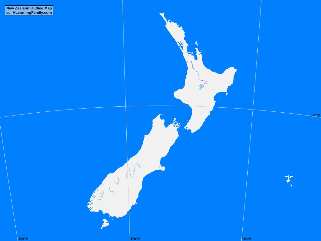 New Zealand Outline Map A Learning Family