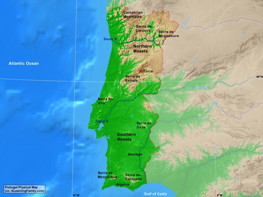 Picture of: Portugal Physical Map A Learning Family