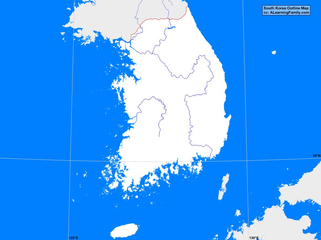 Picture of: South Korea Outline Map A Learning Family