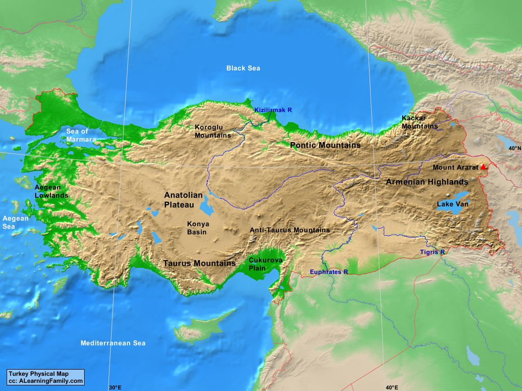 Picture of: Turkey Physical Map A Learning Family