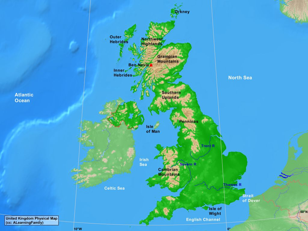 Picture of: United Kingdom Physical Map A Learning Family