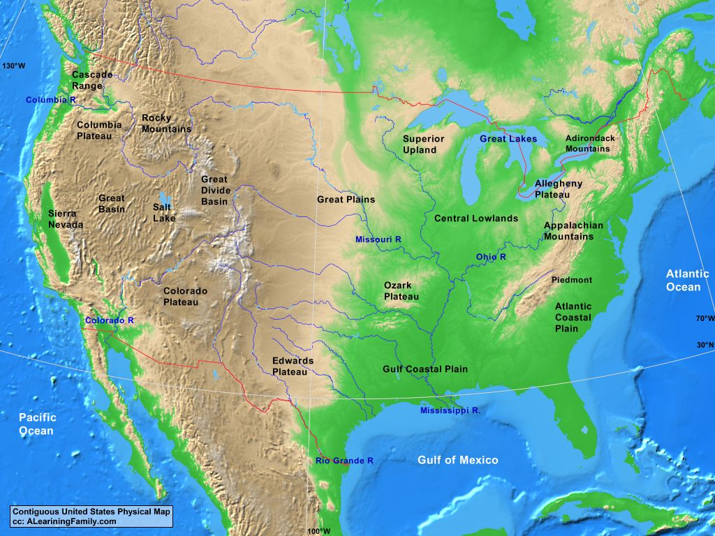 Picture of: Usa Contiguous Usa Physical Map A Learning Family