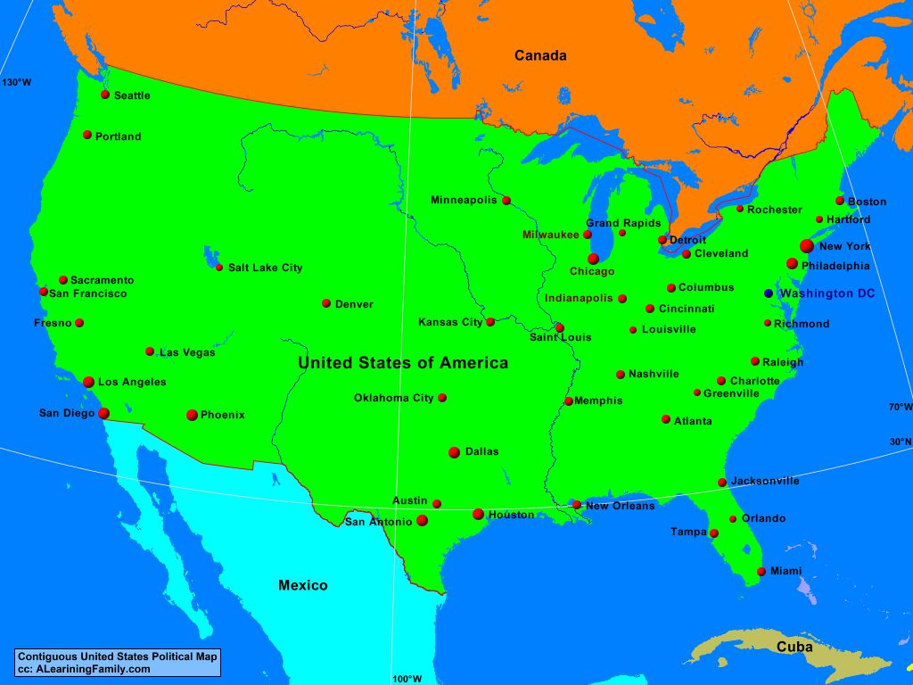 Usa Contiguous Usa Political Map A Learning Family